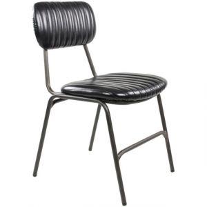 Zago Chaises vintage pieds en métal brut Marius - Lot de 2 - Couleur noir