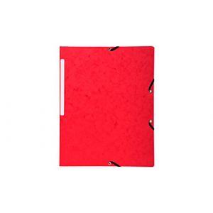 Exacompta Chemise à élastique sans rabat carte 24 x 32 cm dos 3,5 cm rouge