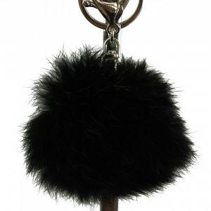 Shopping-et-Mode - Porte-clés bijou de sac pompon noir en fourrure synthétique - Noir, Synthétique