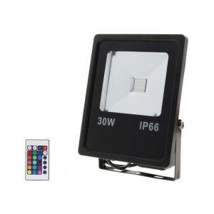 Silamp Projecteur LED RGB 30W Extérieur IP66 Plat NOIR - Noir