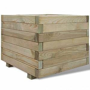 VidaXL Jardinière carrée en bois 50 x 50 x 40 cm -