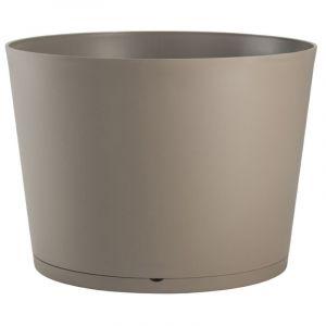Grosfillex Pot de fleur design Tokyo 36 Diam.36 H.26 - Taupe - Extérieur - Soucoupe amovible intégrée