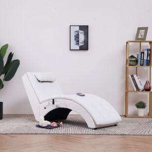 VidaXL Chaise longue de massage avec oreiller Blanc Similicuir