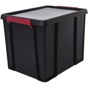 Iris Ohyama Boîte de Rangement / Bac en Plastique avec Couvercle - Multi Box - MBX-38, Plastique, Noir/Rouge / Transparent, 38 L, 45,3 x 34,8 x 34,3 cm