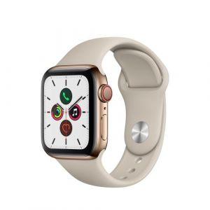 Apple Watch Watch Series 5 GPS + Cellular 40mm,Boitier Acier Inoxydable Or avec Bracelet Sport Stone - S/M & M/L