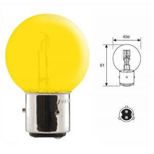 AMPOULE 12V 45/40W BA21D JAUNE 3 ERGOTS 2 PLOTS VOITURE COLLECTION TRACTEUR LAMPE PHARE