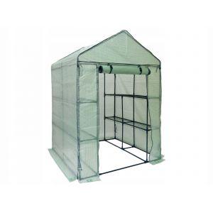 FLORAX | Serre de jardin souple 8 étagères 200x140x140 cm | Abri de Jardin avec Bâc 140 gr/m² | Serre plastique jardinage | Vert TROUV