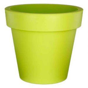 AC-Déco Pot de fleurs rond - Felicia - D 20 x H 18 cm - Plastique - Vert