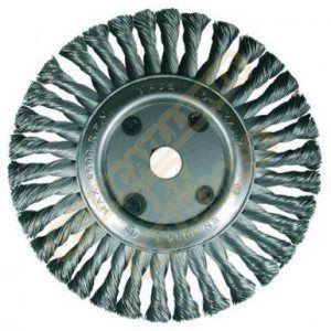 Osborn Brosse ronde pour meuleuse d'angle 115 mm, diamètre 115 x 12 mm, alésage 22,2 mm, gezopfter fil en acier 0,50 mm certifié TÜV, bleu, 2631151