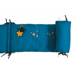 Moulin roty Tour de lit bleu Les Moustaches (pour lits 60 x 120 et 70 x 140 cm)