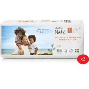 Eco by Naty Lot de 2 paquets de couches Taille 5 12-18 kg 40 pcs