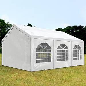 Intent24 Tente de réception 4x6 m, toile de haute qualité 240g/m² PE blanc construction en acier galvanisé avec raccordement par vissage