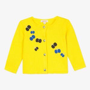 Catimini Cardigan tricot coton jaune à patchs papillons