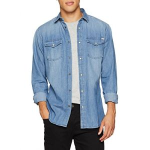 Jack & Jones Jjesheridan Shirt L/s, Chemise en Jean Homme, Bleu (Medium Blue Denim Fit:Slim), X-Small