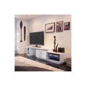 galston meuble tv bas en bois laqu avec led - Meuble Tv Bas Avec Led