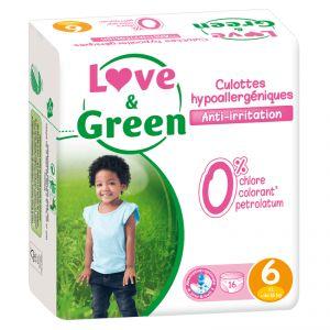 Love & Green Pack de 16 culottes hypoallergéniques Taille 6