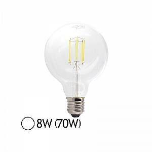 Vision-El Ampoule Led 8W (70W) FILAMENT E27 Globe clair D95 Blanc jour