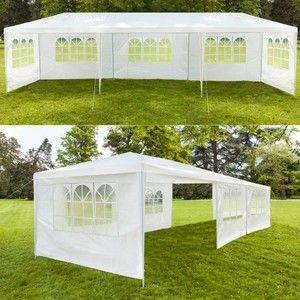 ProBache Chapiteau 3x9 m - Tente tonnelle de réception blanche avec 6 cotés