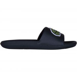 Lacoste Croco Slide 319 4 US CMA, Sandales Bout Ouvert Hommes, Noir (Black/Green 1b4), 42 EU