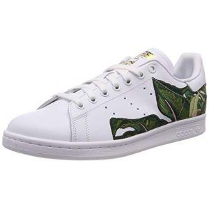 Adidas Stan Smith W, Chaussures de Gymnastique Femme, Blanc (FTWR White/FTWR White/Gold Met. FTWR White/FTWR White/Gold Met.), 36 2/3 EU