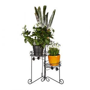 Relaxdays Porte plantes support pot de fleurs 3 étages 50 cm de hauteur décoratif, noir