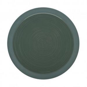 Guy Degrenne Assiette plate ronde 23cm vert argile en grès - A l'unité - Bahia