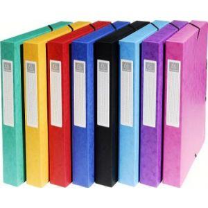 Exacompta 50400E - Boîte à élastique EXABOX, carte lustrée, dos de 40, coloris assortis 8 teintes