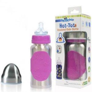 Pacific Baby Biberon inox isotherme rose évolutif (200 ml)