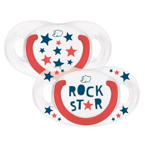 Bébé Confort 2 sucettes silicone Natural Physio Rock Star 6-18 mois
