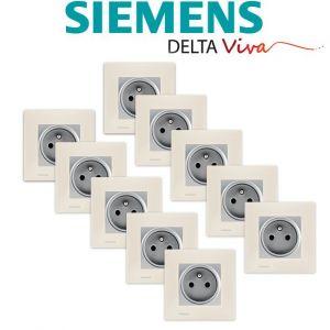 Siemens LOT 10 Prise 2P+T Silver Delta Viva + Plaque Beige