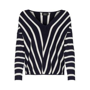 Only NOS Onlaya 7/8 V-Neck Pullover KNT Noos Pull, Multicolore (Night Sky Stripes: W.Cloud Dancer Stripes), 40 (Taille Fabricant: Medium) Femme