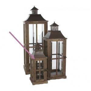 L'héritier du temps Lanterne Lampe Lampadaire à Bougie Tempête en Bois Marron Vitre et Fer Carrée 21x21x55cm