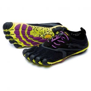 Vibram Fivefingers V-Run, Chaussures Multisport Outdoor Femme - Multicolore (Black / Yellow / Purple), 39 EU
