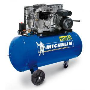 Michelin Compresseur 100L 3CV Bicylindre fonte 350L/min - MB100-3