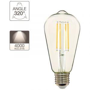 Xanlite Ampoule à filament LED Edison, culot E27, 8W cons. (75W eq.), lumière blanc neutre