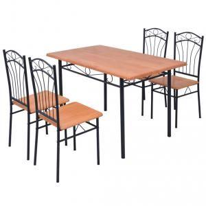 VidaXL Ensemble de salle à manger cinq pièces marron