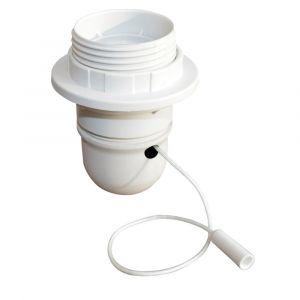 Tibelec Douille 1/2 fil et baguette E27, plastique blanc, 60 watts