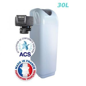 Adoucisseur 30L Fleck 5700SXT Bypass Inox - 30L - Avec régénération volumétrique électronique - Débit max: 3m³/h - Ø de raccordement : M 3/4''.
