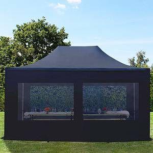Intent24 Tente pliante tente pliable 3x4,5m - avec fenêtre panoramique PROFESSIONAL toit 100% imperméable tente de jardin pavillon noir.FR