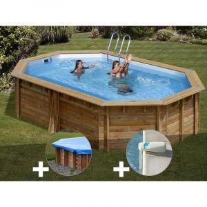 Sunbay Kit piscine bois Cannelle 5,51 x 3,51 x 1,19 m + Bâche hiver + Alarme