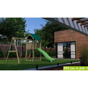 Chalet et Jardin Funny 2 - Portique en bois avec maisonnette