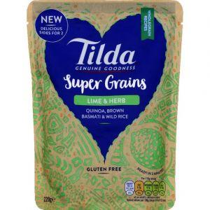 Tilda Riz basmati complet et riz sauvage cuit à la vapeur avec citron evert et herbes et quinoa