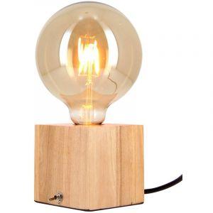 Xanlite Lampe à poser cube en bois + ampoule globe G125 Vintage incluse