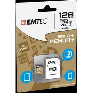 Emtec ECMSDM128GXC10GP - Carte mémoire microSDXC 128GB Class10 Gold + adaptateur SD