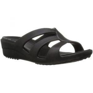 Crocs Sanrah Strappy Wedge, Sandales Bout Ouvert Femme, Noir (Black), 39-40 EU
