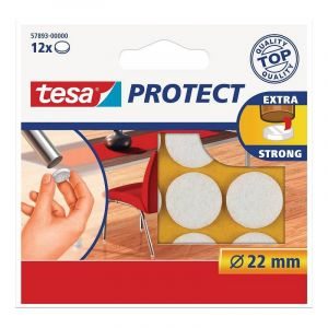 Tesa 12 Pastilles de protection anti-rayures Blanc diamètre 22mm
