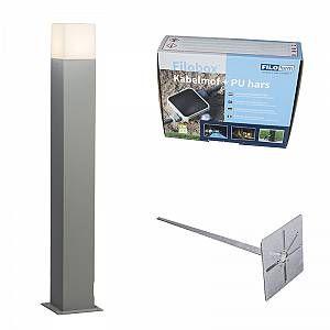 Qazqa Lampe extérieure P70 grise avec piquet de terre et manchon de câble - Denmark