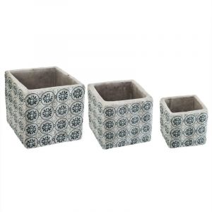 """Image de Lot de 3 Cac Pots Ciment """"Dolce"""" 14cm Bleu Prix"""