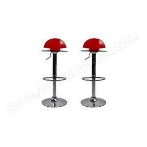 Miliboo Tabouret de bar design plexiglas rouge transparent lot de 2 ORION