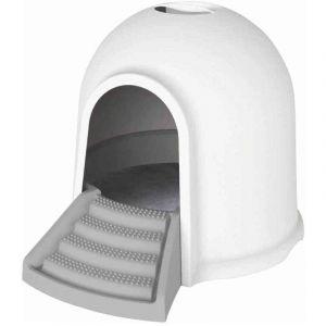 M pets M-PETS Maison de toilette Igloo 2en1 - 45,7x59,7x43,2cm - Blanc et gris - Pour chat